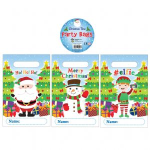 Christmas Themed Plastic Party Loot Bags (Pack of 12)